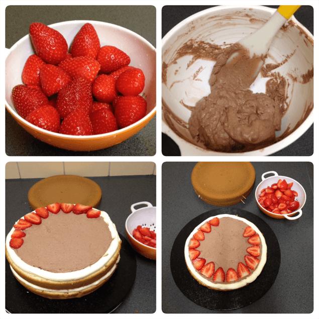 Vulling chocolade met aardbeien