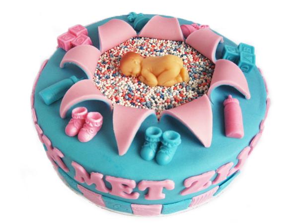 Voorbeeld geboortetaart voor een jongen of meisje - Voorbeeld van decoratie ...