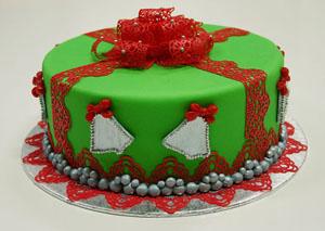 Kersttaart met eetbaar kant