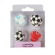 Suikerdecoratie voetbalshirt & voetbal 12 st - Culpitt, fig. 1
