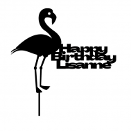 Taarttopper - Flamingo + Happy Birthday + voornaam, fig. 1