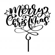 Taarttopper - Merry Christmas swirl met sterren, fig. 2