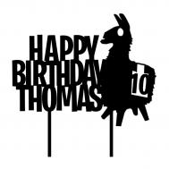 Taarttopper - Fortnite lama happy birthday met naam + leeftijd, fig. 1