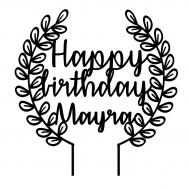 Taarttopper - Krans happy birthday + naam, fig. 1