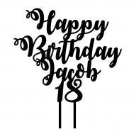 Taarttopper - Happy Birthday + voornaam + leeftijd sierlijk, fig. 1