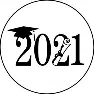 """Geslaagd 2021"" 20 cm rond op Frosty sheet, fig. 1"