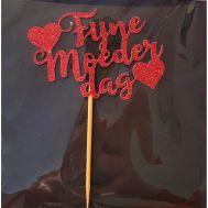 Fijne moederdag prikker glitter rood 6 stuks, fig. 1