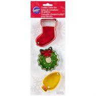 Kerstkoekjes uitsteker metaal kerstsok/krans/lampje set/3 - Wilton, fig. 1