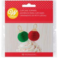 Kersttopper kerstballen rood & groen, fig. 2