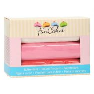 Rolfondant wit-roze-rood 3 x 150 gr - FunCakes, fig. 1