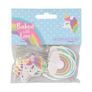 Papieren cupcake toppers eenhoorn en regenboog - Baked with Love, fig. 1