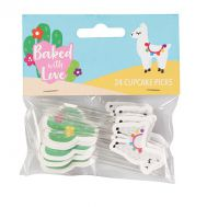 Papieren cupcake toppers lama/cactus - Baked with Love, fig. 1