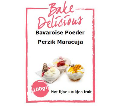 Bavaroise poeder perzik Maracuja met fijne stukjes fruit 100 gr - Bake Delicious, fig. 1