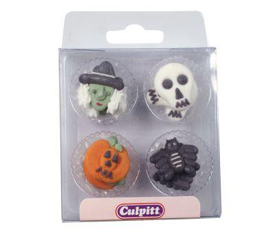 Suikerdecoratie halloween heks/doodshoofd/pompoen/spin, fig. 2