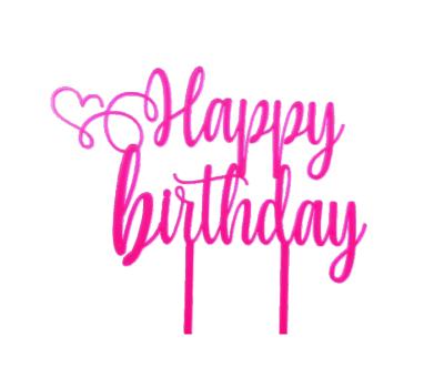 Taarttopper - Happy Birthday sierlijk met hart, fig. 2