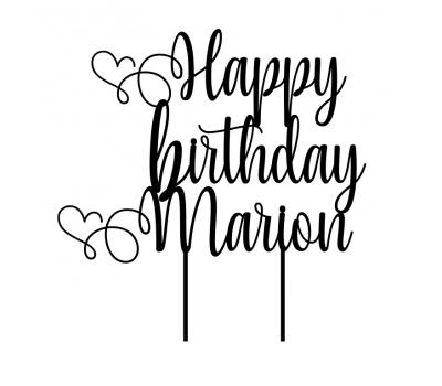 Taarttopper - Happy Birthday sierlijk met hart + voornaam, fig. 1