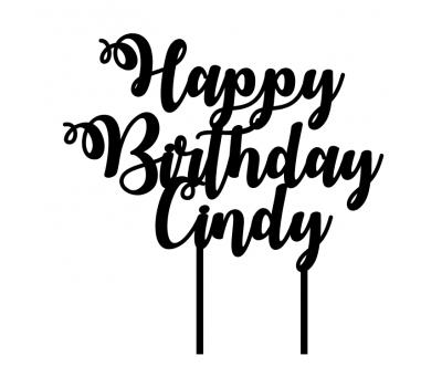 Taarttopper - Happy Birthday sierlijk met voornaam, fig. 1