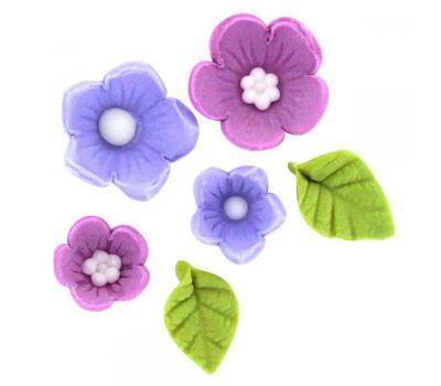 Suikerdecoratie bloem & blad lila 12 st, fig. 3