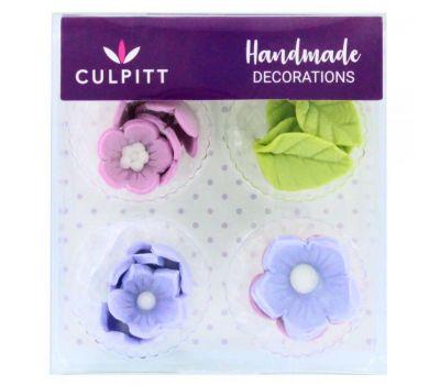 Suikerdecoratie bloem & blad lila 12 st, fig. 2
