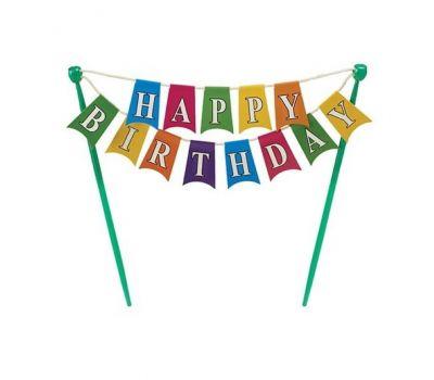 Caketopper vlaggenlijn Happy Birthday, fig. 2