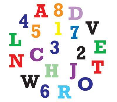 Alfabet & cijfers tappits upper case, fig. 1