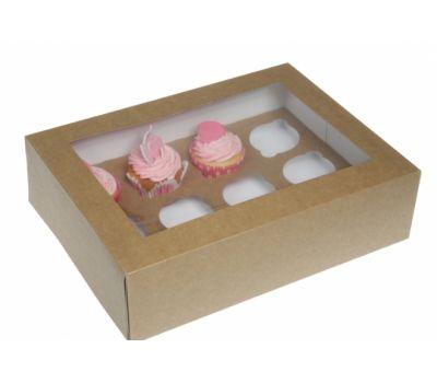 Cupcake doos Kraft met venster + insert voor 12 cupcakes (5 st), fig. 1