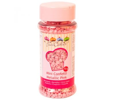 Mini confetti metallic roze 70 gr - FunCakes, fig. 1