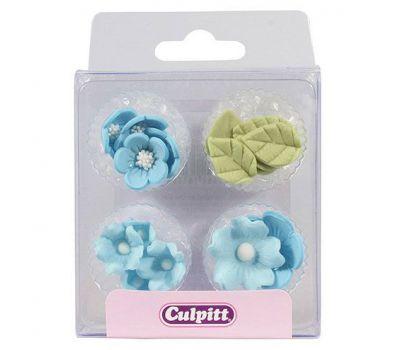 Suikerdecoratie Bloem & Blad Blauw 16 st - Culpitt, fig. 1