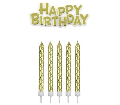 Kaarsjes in houder Happy birthday goud 16 st - PME, fig. 1
