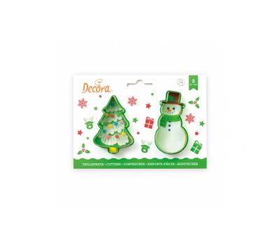 Sneeuwpop en kerstboom uitstekers set/2 - Decora, fig. 1