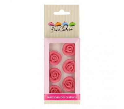 Marsepein decoratie - Roosjes roze 6 st., fig. 2