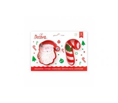 Kerstman & zuurstok uitsteker set/2 - Decora, fig. 1