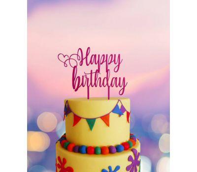 Taarttopper - Happy Birthday sierlijk met hart, fig. 3
