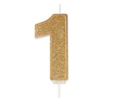 Kaarsje goud glitter cijfer nr. 1 - Culpitt, fig. 1