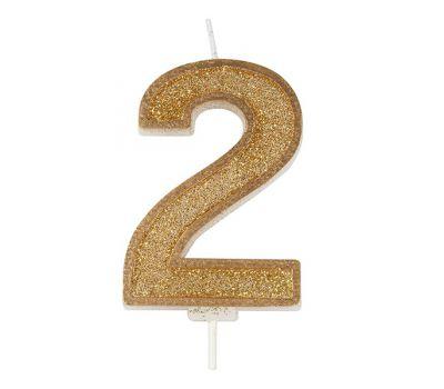 Kaarsje goud glitter cijfer nr. 2 - Culpitt, fig. 1